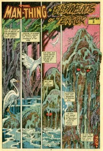 "Tom Sutton's opening for ""Man-Thing: Elements of Terror, Chapter 1""  (Marvel Comics)"